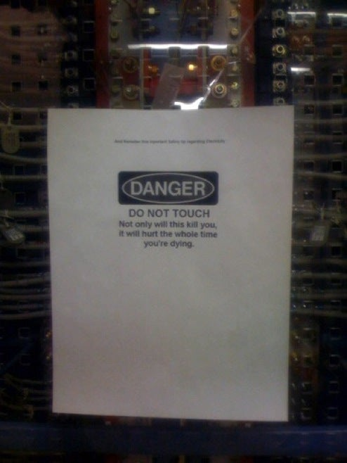 Best Warning Sign Ever Doesn't Mess With Idle 'High Voltage' Threats