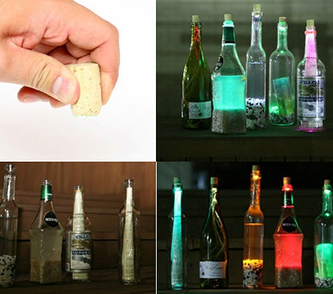 LEDs Hidden in Corks Light Up Booze Bottles to Eerie Effect
