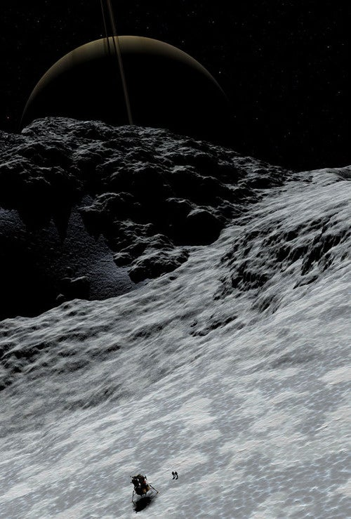 Saturnrise on the moon Prometheus