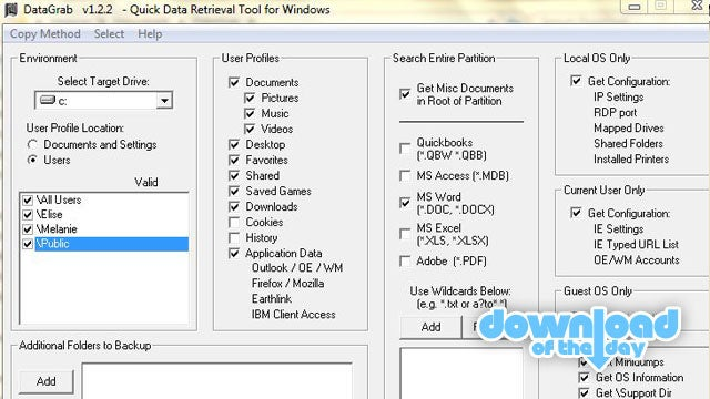DataGrab Backs Up All Users' Profiles and Settings with One Click