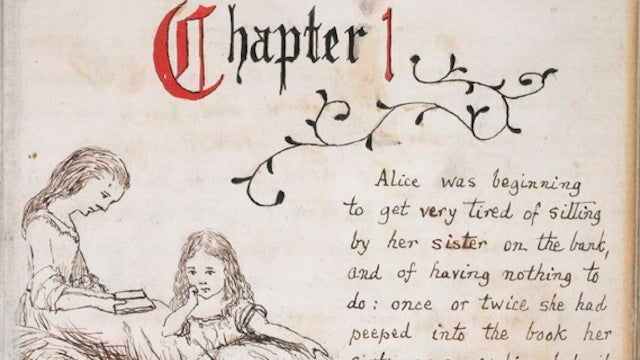 Handwritten pages from Alice's Adventures Under Ground, illustrated by Lewis Carroll
