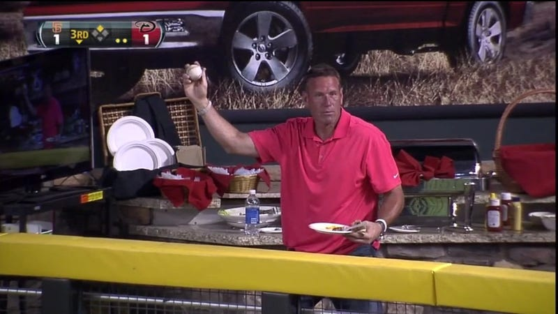 Dan Majerle Caught An Automatic Double At Tonight's Diamondbacks Game
