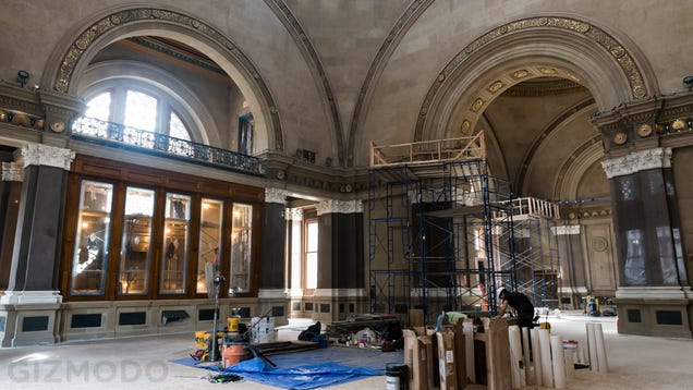 Tour the restoration of a grand 138 year old brooklyn bank for Bank ballroom with beautiful mural nyc