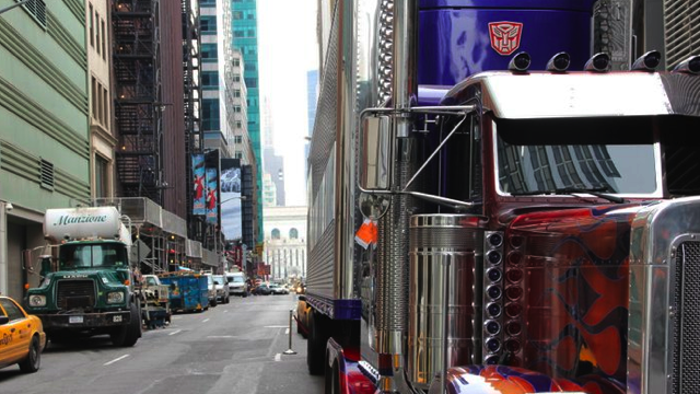 Optimus Prime gets a parking ticket in New York City