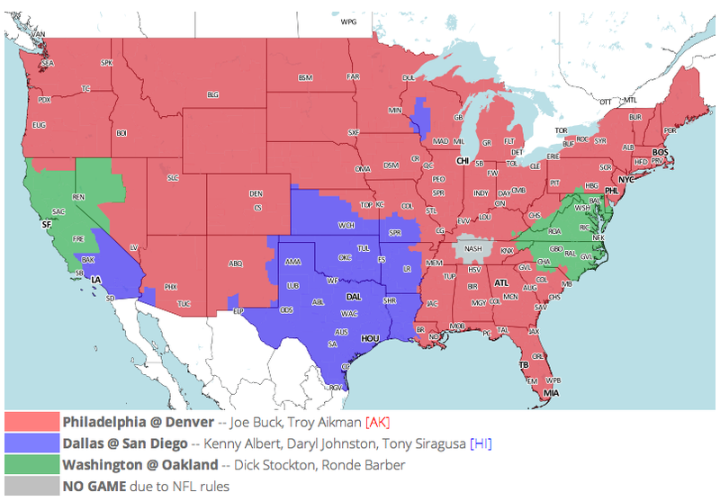 Which TV Market's Getting Screwed Today? Your Week 4 NFL Viewing Maps