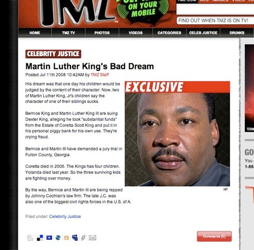 TMZ Steals From the Poor and Gives To Themselves