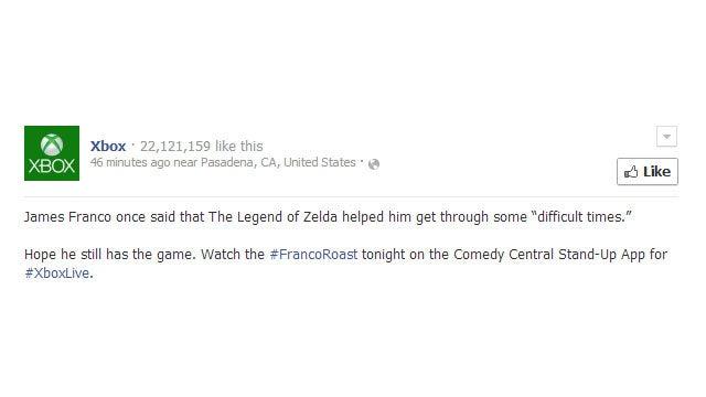 Xbox Facebook Account Smokes Whatever James Franco's Been Smoking