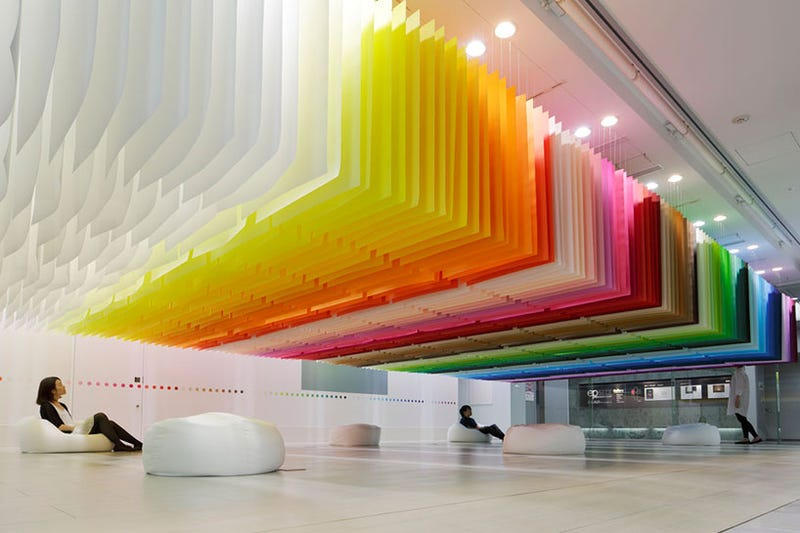 A Giant Paper Installation That Looks Like Sitting Inside a Rainbow