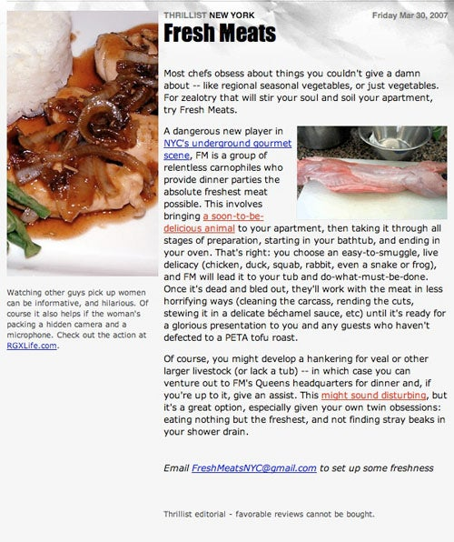 Fresh Meats A Hoax; Thousands Of Sadistic Foodies Left Blood-Hungry