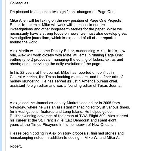Robert Thomson Reshuffles WSJ Editors