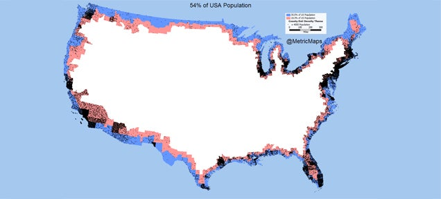 More than half of the US population lives in this thin border line