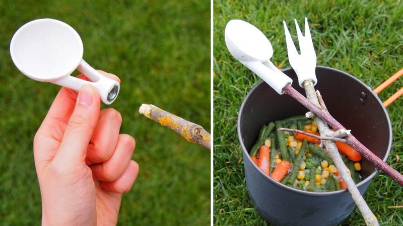 Camping Cutlery Adapters Make Your Marshmallow Stick Far More Useful