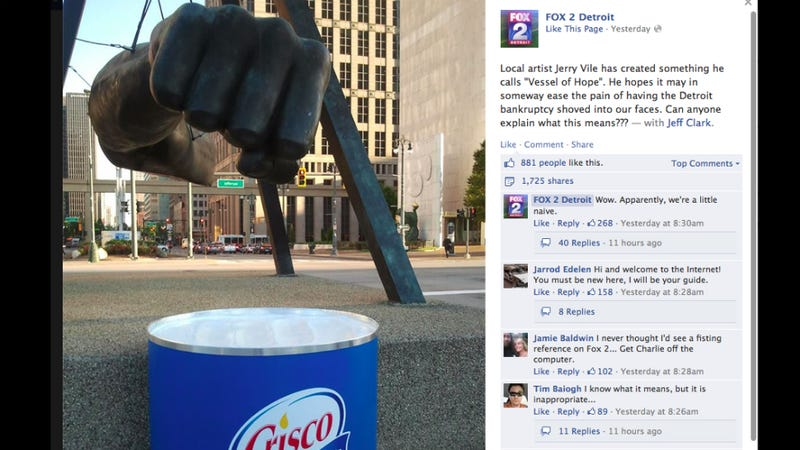 Detroit's Fox Affiliate Very Confused By Crisco Can and a Giant Fist
