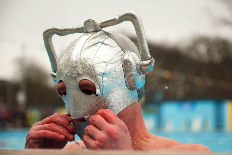 One must don a Cyberman swim cap to be a cold competitor