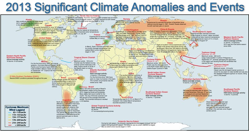 All the strange climate events in 2013 on one map