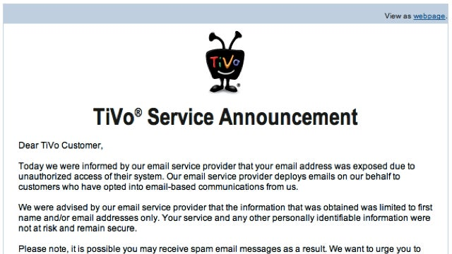 TiVo Customer Email List Hacked—Prepare Yourself for Spam (Updated)