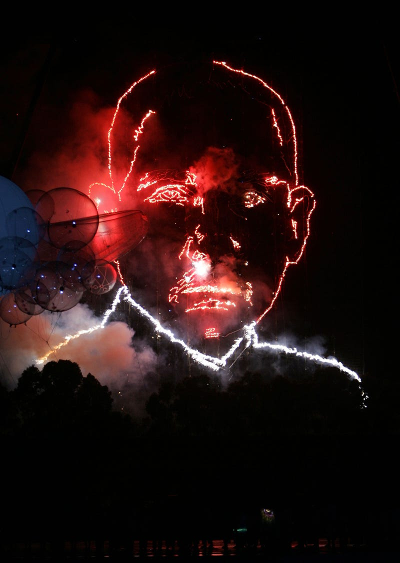 Giant Fireworks Head Wishes You Happy New Year