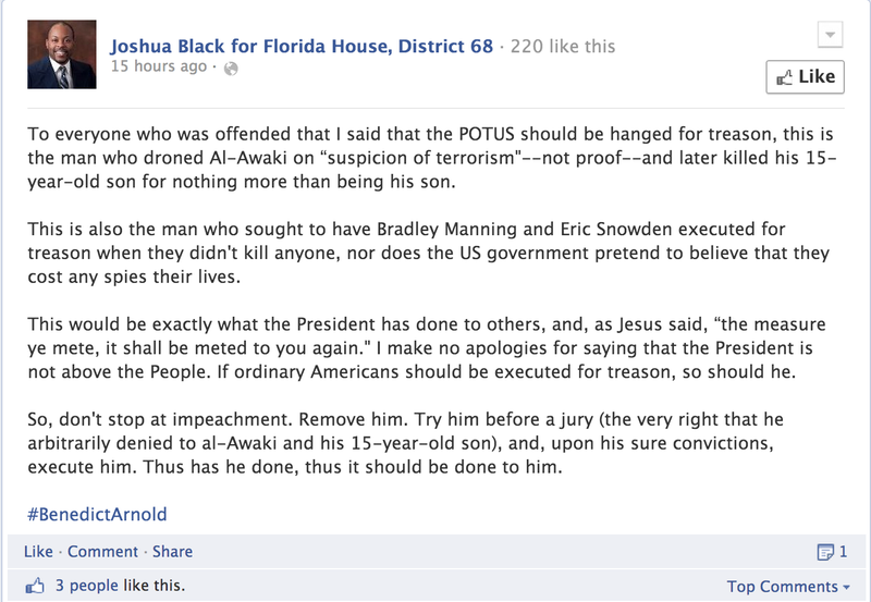 House Candidate Celebrates MLK Day By Calling for Obama to Be Hanged