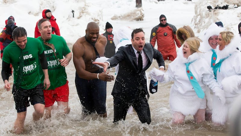 Jimmy Fallon Emerges from Lake Michigan Thronged by Lunatics