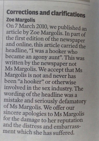 The Independent Rather Regrets Calling Its Writer a 'Hooker'