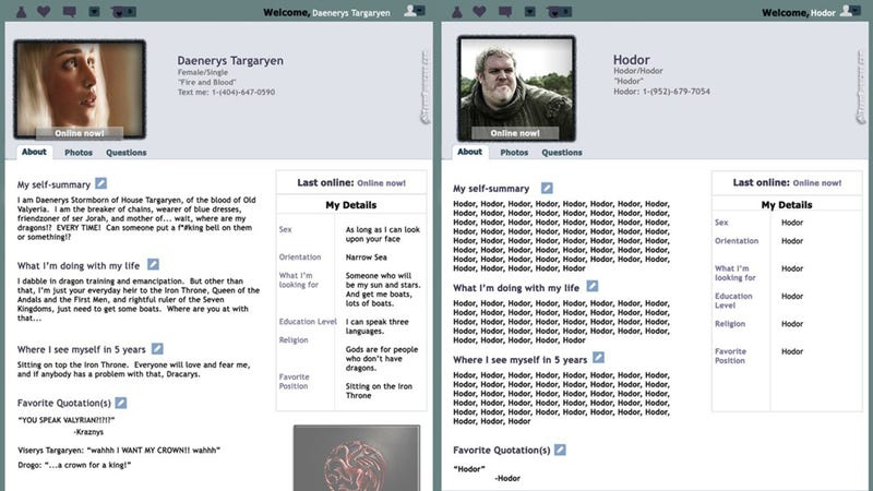 If Game of Thrones Characters Were on Online Dating Websites