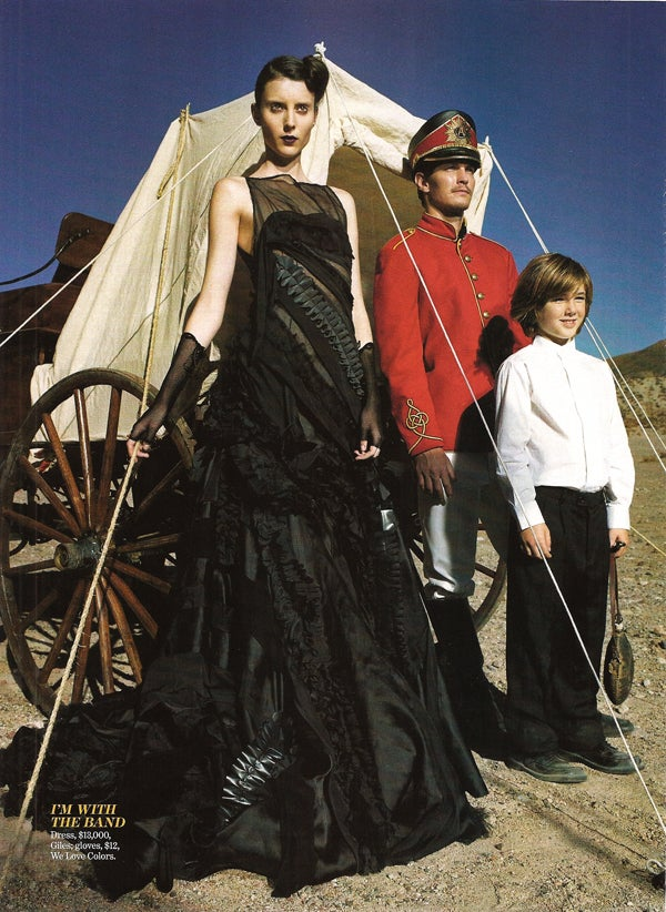 "Marie Claire's ""Outlaw"" Look: $13,000 Gown & Black Lipstick"