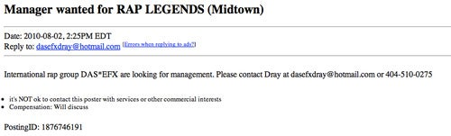 Is Rap Group Das EFX Looking for a New Manager on Craigslist?