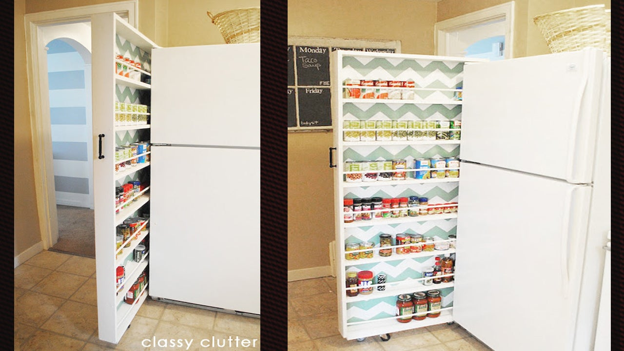 Build a space saving roll out pantry that fits between the - Roll out shelving for pantry ...