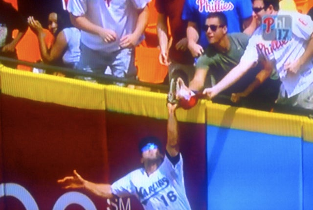 Some Phillies Fans Went To Miami And Interfered With The Marlins Right Fielder
