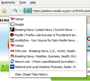 Undo Closed Tabs Button Resurrects Accidentally Closed Tabs