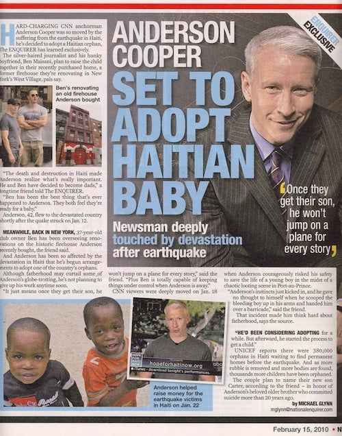 Anderson Cooper's Casually Outed in Haitian Adoption Tale
