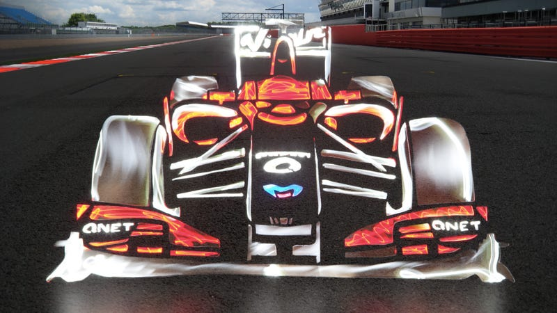 Formula 1 cars made entirely out of light