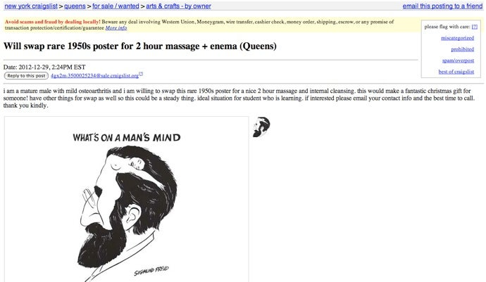 Man in Queens Offering 'Rare' Poster for Two-Hour Massage and Enema
