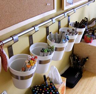 hanging buckets organization rack