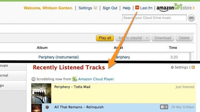 Scrobble Amazon Cloud Player Tracks to Last.fm with a Userscript