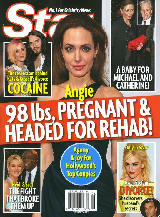 This Week in Tabloids: Angelina Weighs 98 Lbs, Is Pregnant and Headed to Rehab