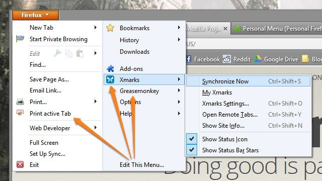 Personal Menu Customizes the Firefox Menu Top to Bottom