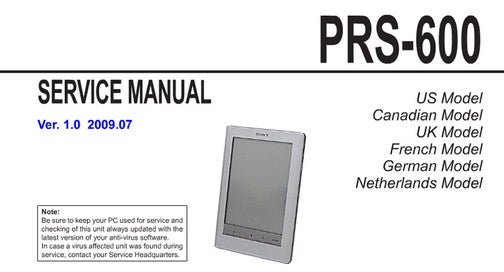 Sony's PRS-300 and PRS-600 eBook Readers Leaked in Service Manuals