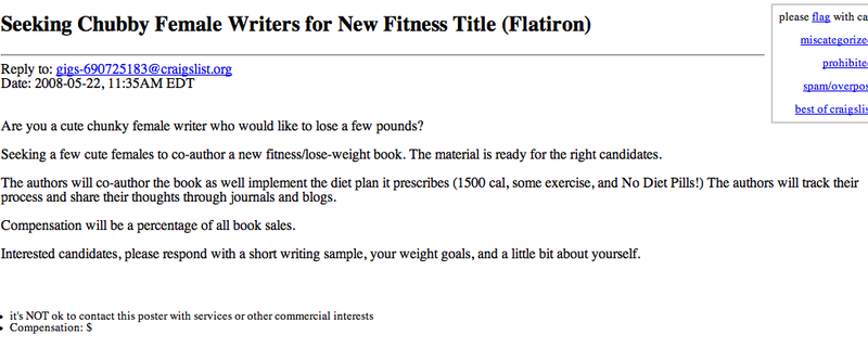 """Seeking Chubby Female Writer..."""