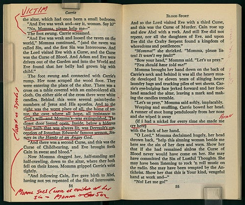 David Foster Wallace's margin notes on Stephen King's Carrie and C.S. Lewis' first Narnia book