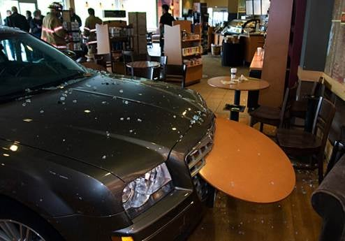 Starbucks Coffee Shop Takes A Chrysler 300 Break