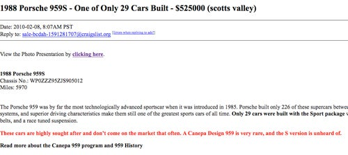 How Often Does A Porsche 959S Pop Up On Craigslist?