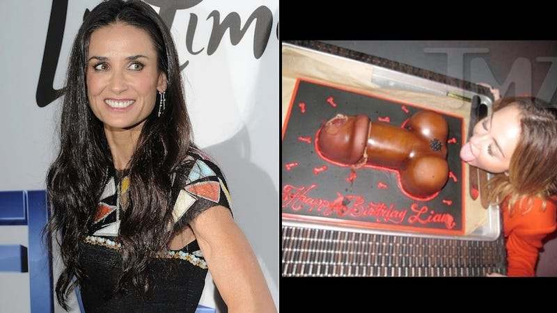Before Rehab, Demi Moore Was Pounding Red Bulls at Miley Cyrus' Penis Cake Party