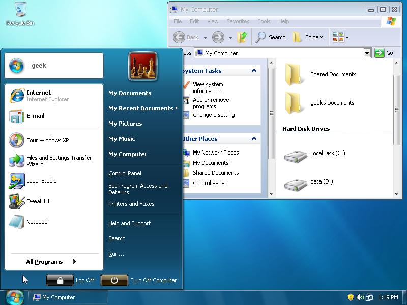 Turn Windows XP Into a Fake Windows 7