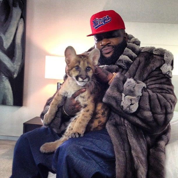 Rick Ross Poses in Fur Coat Holding Baby Leopard (?), is Very Much the Boss