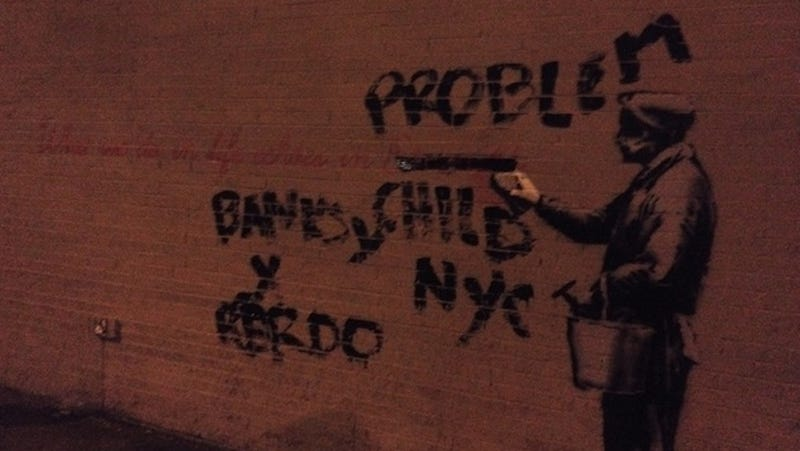 Here's Video of Banksy's Latest Work in Queens Getting Tagged