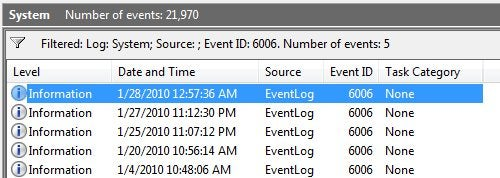 Use Event Viewer to Tell When Your PC Last Rebooted
