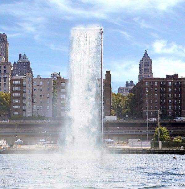 NYC Installing Gigantic 120-Foot Waterfalls Under the Brooklyn Bridge, in the East River