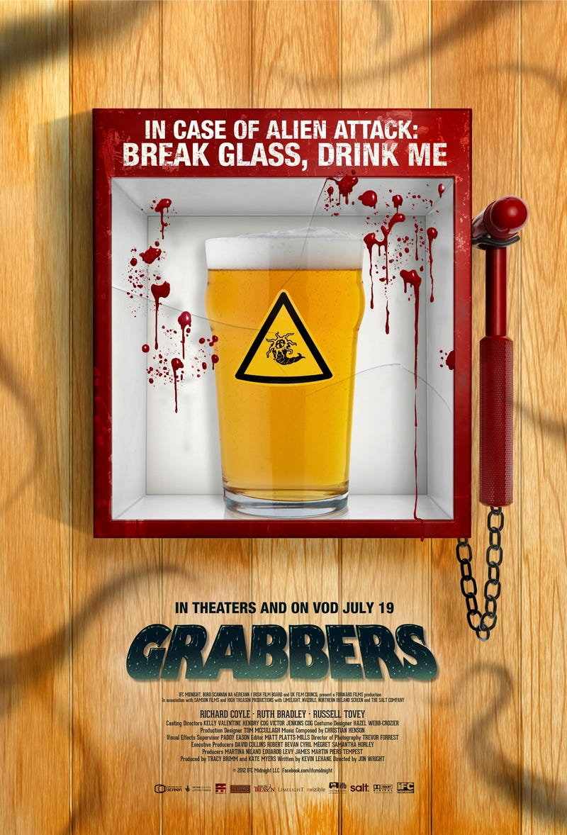 Learn how booze could save your life in the poster for Grabbers