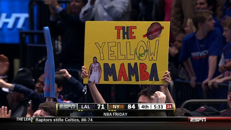 "This Knicks Fan's ""Yellow Mamba"" Sign Presented Without Comment"